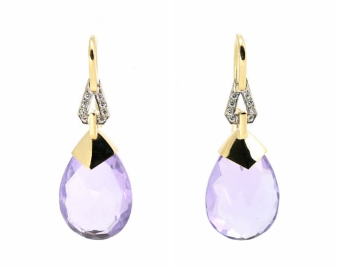 Stunning Amethyst earrings,Diamonds, 18ct yellow gold and platinum hand made.