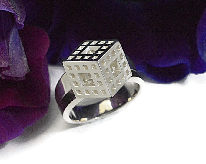 Cube, in solid sterling silver this ring is wearable art, whether you're into Escher, The Borg, or just like geometry.