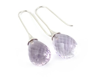 Amethyst briolet, natural stones, sterling silver (solid) beautiful and classic.