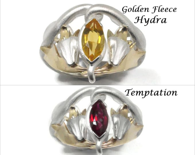 Stg Sil & 10KY gold (solid) with 10x5mm Ruby synthetics, Garnet and Citrine natural stones. Green stones avalible for this ring in our shop.