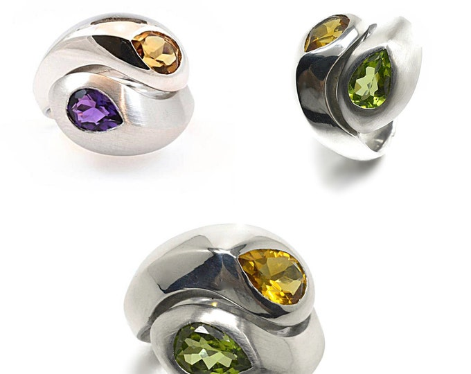 Amethyst, Citrine or Peridot natural stones, in sterling silver solid ring. Different, lovley, and comfortable to wear.