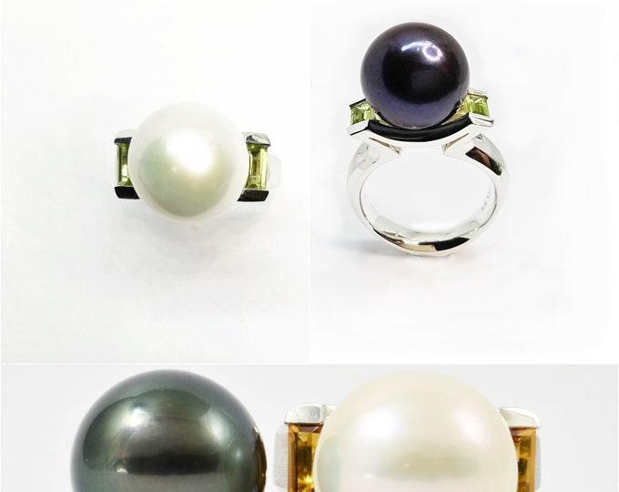 Pearl fresh-water (white) or Tahitian (black) 13.5-14mm stg silver with choice of Peridot, Swarovski CZ, Topaz, Citrine, Amethyst, or Garnet