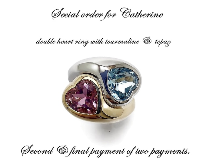 Double heart ring in 9K yellow and white gold, topaz set in white gold and tourmaline yellow gold. Final payments of two,ship finished ring.