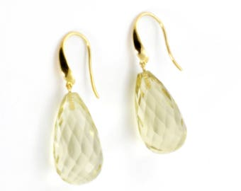 Quartz earrings,9K yellow gold earrings, hook earrings , Lemon quartz and 9ct yellow gold hooks