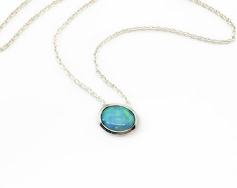 Beautiful blue, Opal from Lightning Ridge Australia,doublet mined stone, sterling silver solid, sterling silver chain 45cm hand made quality