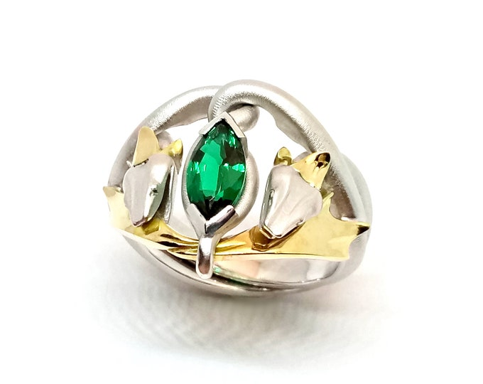 Snake Kings ring large sizes: Sterling silver and 10ct yellow gold with 10x5mm  Peridot, or Hydrothermal Emerald orNephsite