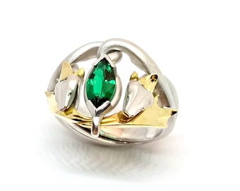 Snake Kings ring: Sterling silver and 9KY gold with 10x5mm Peridot Nephrite Tourmaline naturals, or Hydrothermal Emerald Ruby synthetics