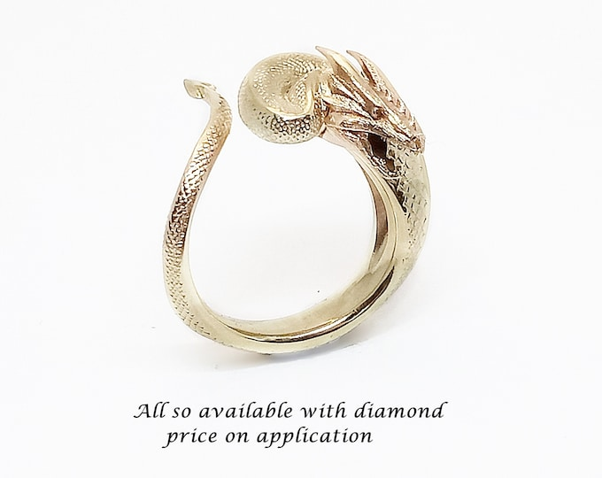 Dragons Treasure in 9K,14K or PLT over 10gms, exquisite detail. A small dragon curled around your finger. Price includes postal insurance.