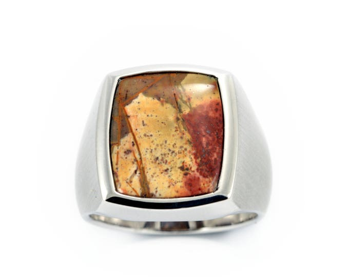 12gms of Sterling silver,picasso jasper set in solid sterling silver. Jasper ring,choose your stone to make a ring to order.