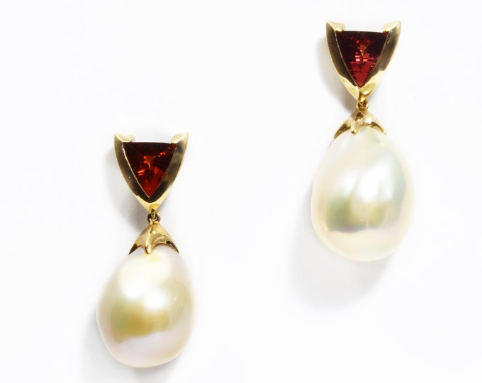 Garnet and pearl earrings studs, 9ct yellow gold earrings, hand made studs.
