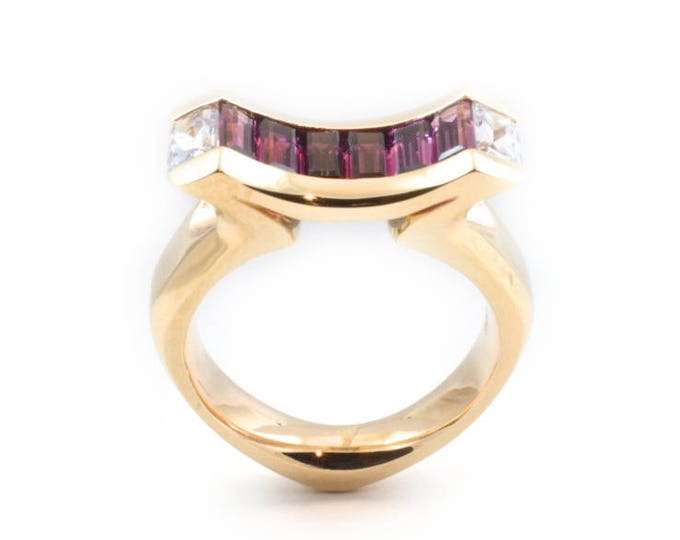Garnet and Blue Sapphire ring, 9ct yellow gold ring. natural stones and solid gold.
