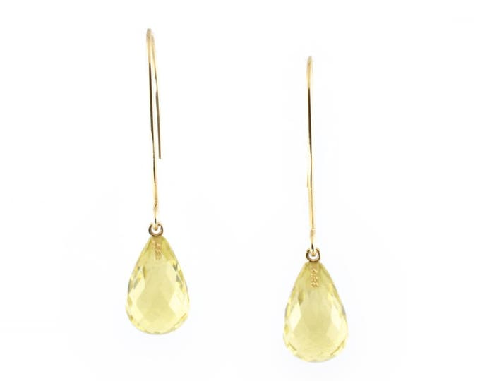 Lemon quartz  briolettes natural stones, on 9ct  yellow gold (solid) hook earrings.