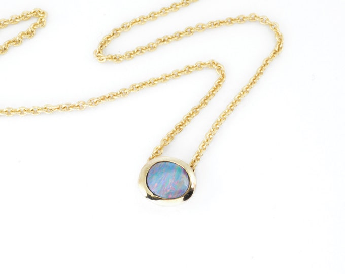 """Opal from Lightning Ridge Australia,doublet mined stone, beautiful blue with red flash in solid 9K and 9K 18"""" 45cm chain, hand made quality"""