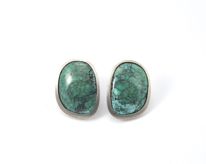 Natural Turquoise stud earrings, made in (solid) Sterling Silver hand-made.