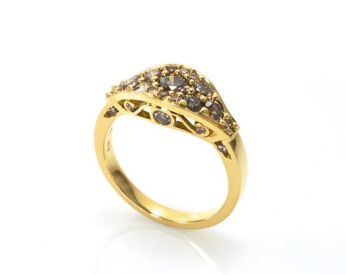Filigree classical diamond ring, 18ct yellow gold ring. Champagne diamond totalling 1.03ct.