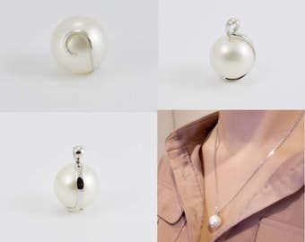 South Sea large pearl pendant. It is a 15mm , natural colour, real cultured pearl in 14ct white gold (solid). 9ct chain (solid) optional.