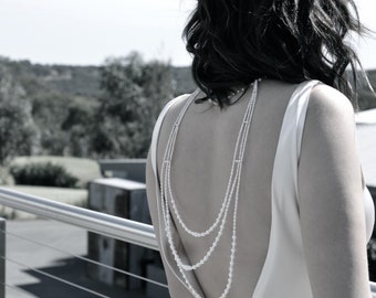 Pearl necklace/back necklace, bridal boby jewelry. Sterling silver, and real cultured pearls.