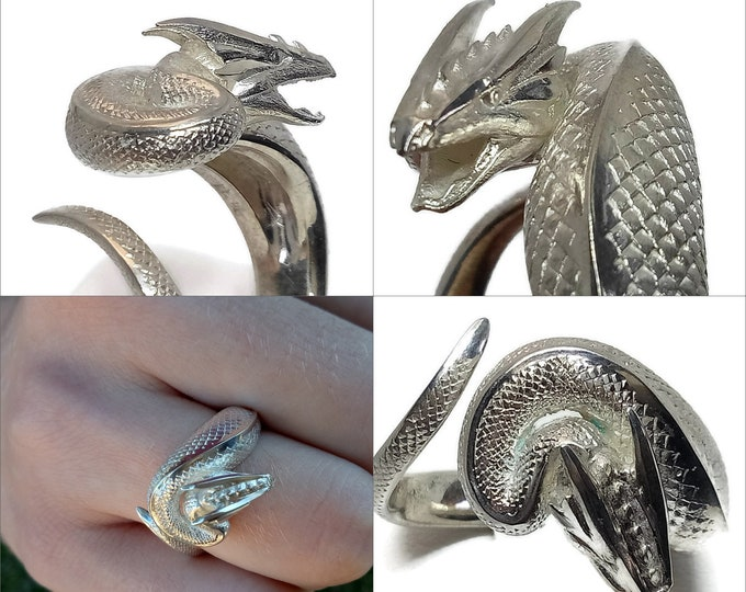 Dragon ring born of lightning solid sterling silver 10gms exquisite detail elemental dragon ring. A small dragon curled around your finger