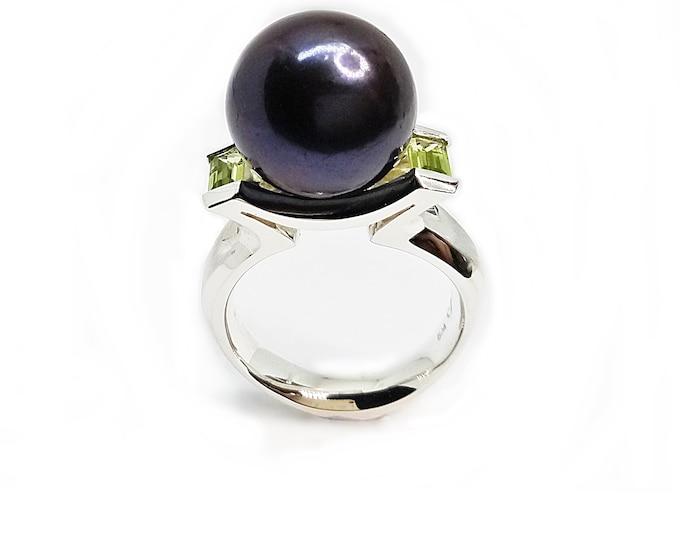 Black Pearl 13.5-14mm freshwater black (dyed)  set in  stg silver with choice of Peridot, Swarovski CZ, Topaz, Citrine, Amethyst, or Garnet