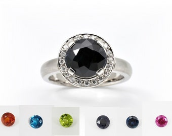 Choose you stone, Diamond surround whichever stone you choose,spessartited garnet,topaz,peridot,sapphire or rodolite garnet 18KW gold ring