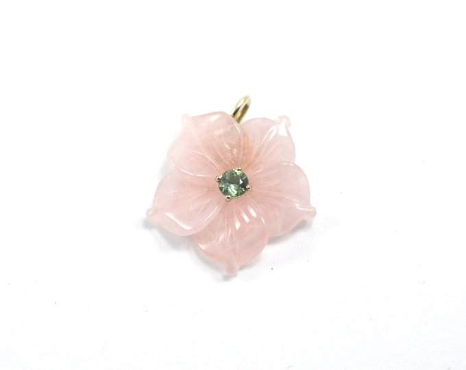 Sapphire, Rose quartz, 9k white gold pendant, beautifully carved rose quartz flower, by itself or on titanium necklaces or 9k w gold chain