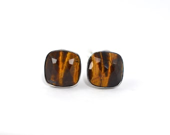 Tigers eye earrings studs, sterling silver earrings.