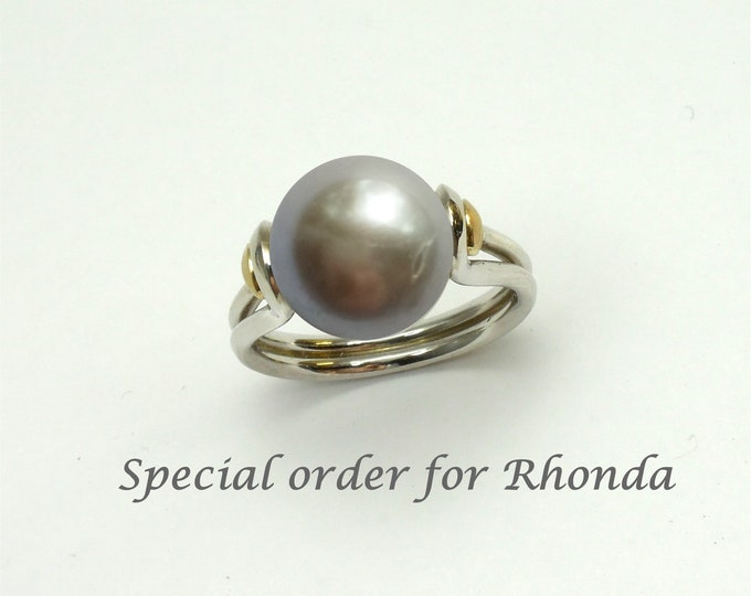 Special order for Rhonda, pearl B a silver grey fresh-water 11mm size 3 3/4 - 4 shipped in 2-4 weeks sterling silver and 9K yellow gold