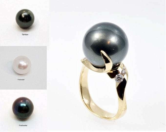 14mm Pearl 14k yellow solid gold  diamonds,  black or white freshwater or tahitian pearl. South sea POA. Price includes shipping insurance.
