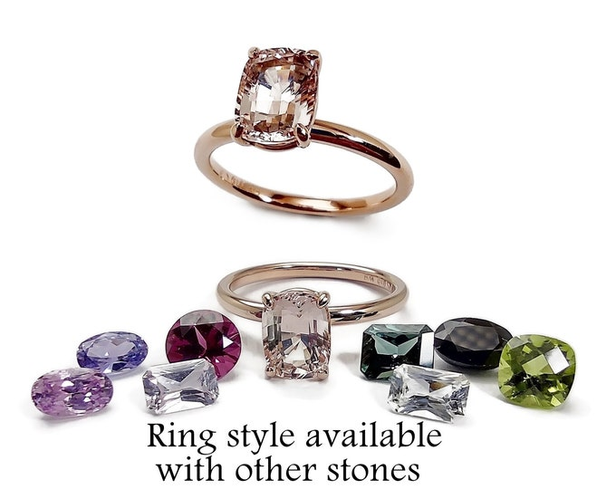 Morganite 1.44ct in 14K pink gold.The ring style can be made with other stones choose from the listing, or ask about a stone you would like