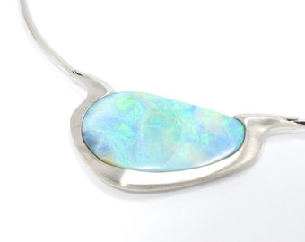 Opal pendant, 9K white gold solid, necklace, Bolder Opal pendant, Natural Australian  bolder opal pendant. Price includes shipping insurance