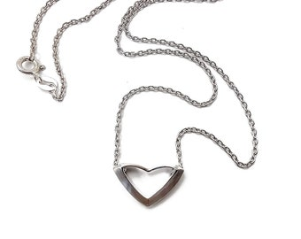Rare Heart pendant solid sterling silver rhodium plated, on a solid sterling silver chain 46cm 18inch long. Simplicity, beauty and style.