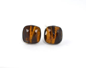 Tigers eye earrings studs, sterling silver earrings.
