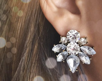 Cluster Earrings- statement earrings/ cluster studs/ sophisticated earrings/ amber earrings/ bridesmaid gift/ gifts for her/ birthday gift