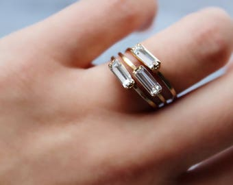 Baguette ring | Etsy