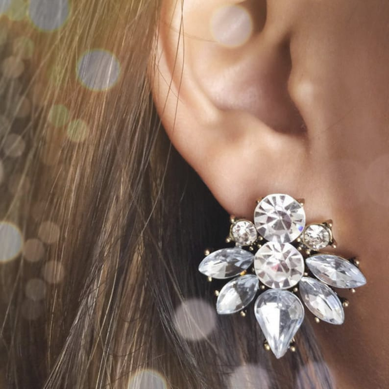 Cluster Earrings statement cluster studs/ sophisticated image 0
