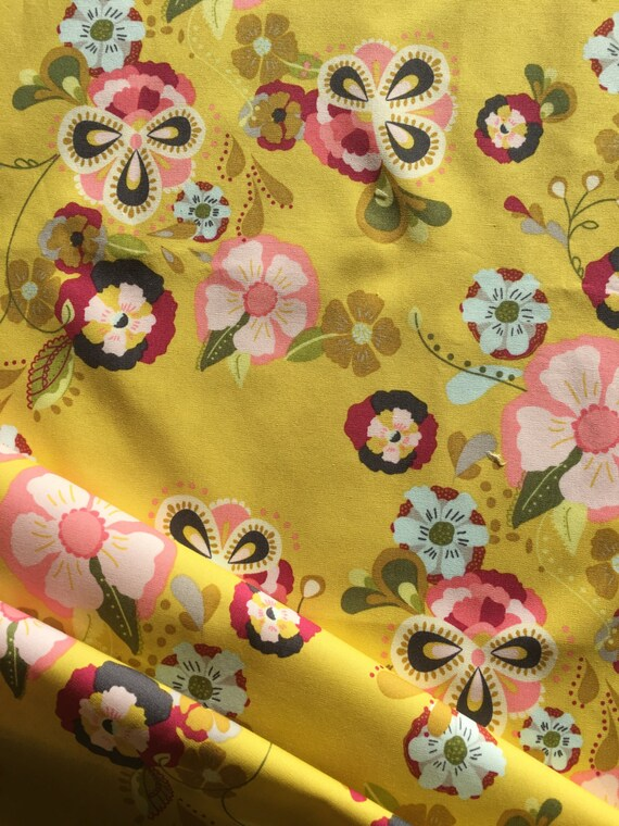 Art Gallery Bari J Emmy Grace  Floral Floats Field Yellow 1/2 yd