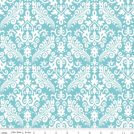 Damask Basics Riley Blake C830-20 Aqua 1/4 yard to 1/2 yard