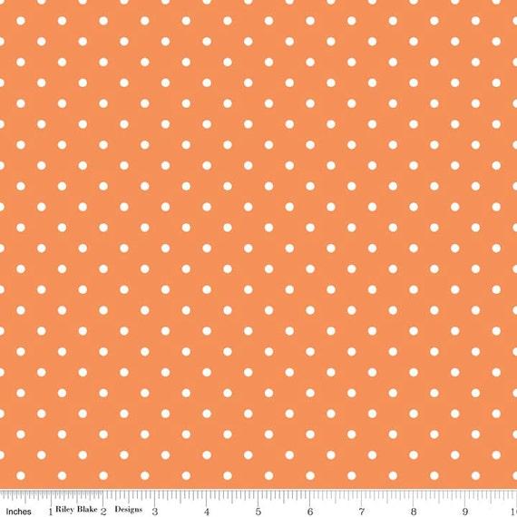 Riley Blake Basics Orange Swiss Dot 1 yard Remnant