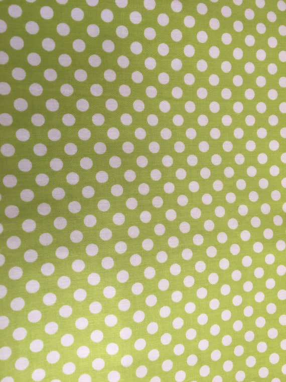 Riley Blake Basics Small Dot C350-32 Lime green  1 yard Remnant
