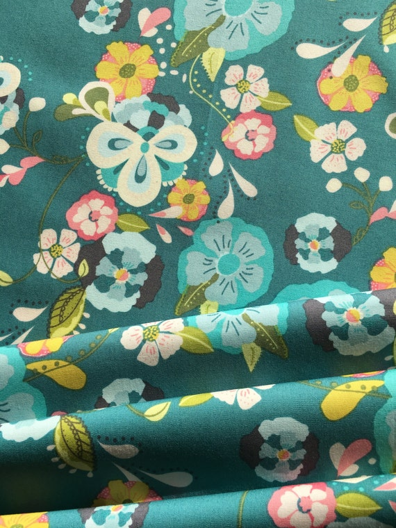 Art Gallery Bari J Emmy Grace Teal 1/2 yard remnant