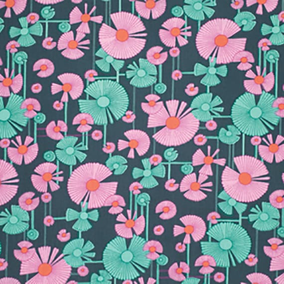 Free Spirit  Amy Butler Glow-Wind Flower PWAB129 Berry (navy) 1/4 yard to 1/2 yard