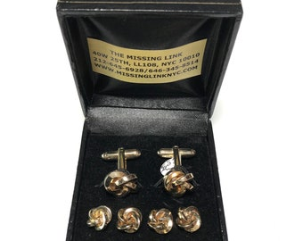 Vintage Art Deco Gold Filled Tuxedo Knots Tuxedo 4 Stud Set and Matching Cufflinks, Men's Gifts, Formal Gifts