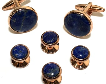 Vintage Art Deco Rose Gold and Lapis Lazuli Tuxedo Stud Set with Matching Cufflinks in Gift Box