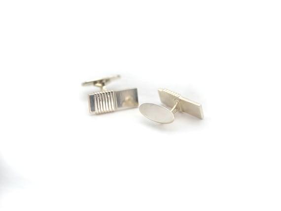 925 Sterling Silver Vintage Brick Design Cufflinks