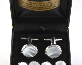 Mother of Pearl Tuxedo Stud Set and Matching Cufflinks with Box