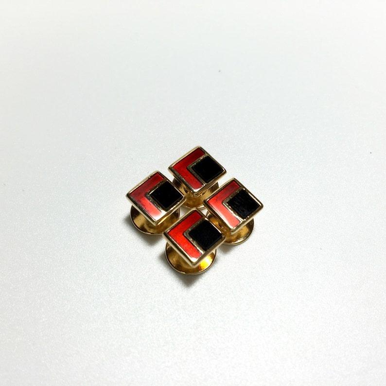 Vintage Tuxedo 4 Onyx and Red Enamel Shirt Stud Set Wedding Gifts Groomsmen/'s Gift,