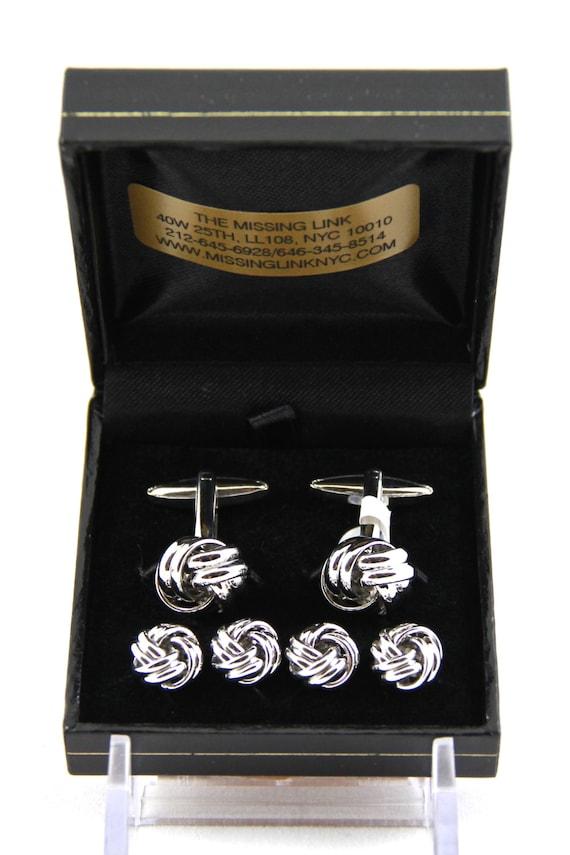 Chrome Knots Tuxedo 4 Stud Set and Matching Cufflinks with Box