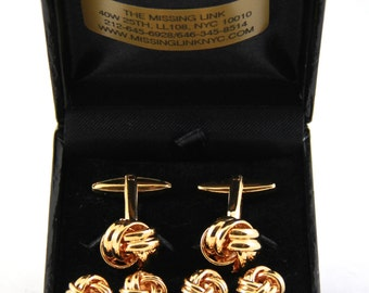Gold Filled Knots Tuxedo 4 Stud Set and Matching Cufflinks with Box