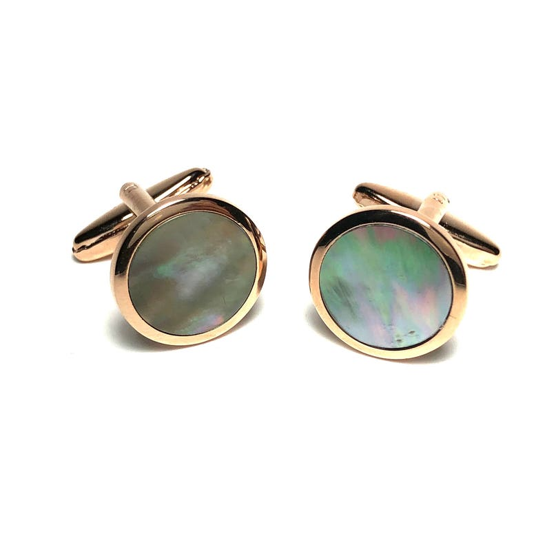 Wedding Gifts Groomsmen/'s Gifts, Rose Gold Filled Tuxedo Abalone Cufflinks and 4 Matching Shirt Stud Set with Screw Backs in Box