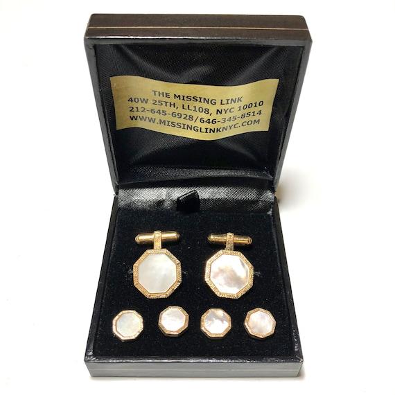 Vintage 1950s Gold Cufflinks Mother of Pearl MOP Shell Mens Formal Wear Tuxedo Jewelry Wedding Unisex Formal